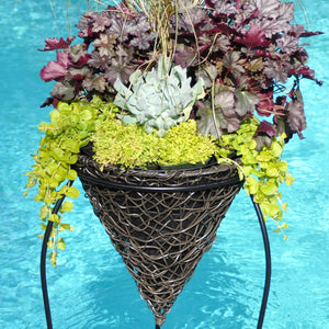 "14"" Twisted PW Cone Hanging Basket"