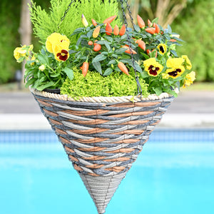 Braided Gray Poly Weave Cone Basket