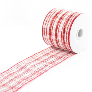 Decor Mesh Ribbon w/ Red and White Stripes