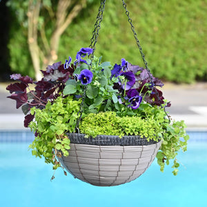 Gray Poly Weave Hanging Basket 16""