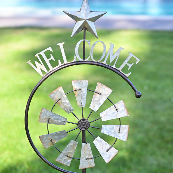 Welcome Windmill Garden Stake