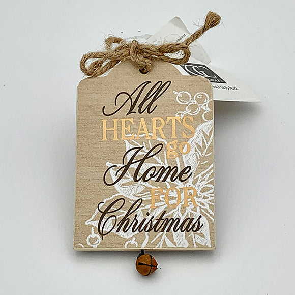 Wooden Tag w/ Bell Ornament