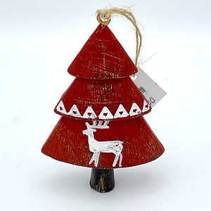 Red Tree Ornament w/ Deer