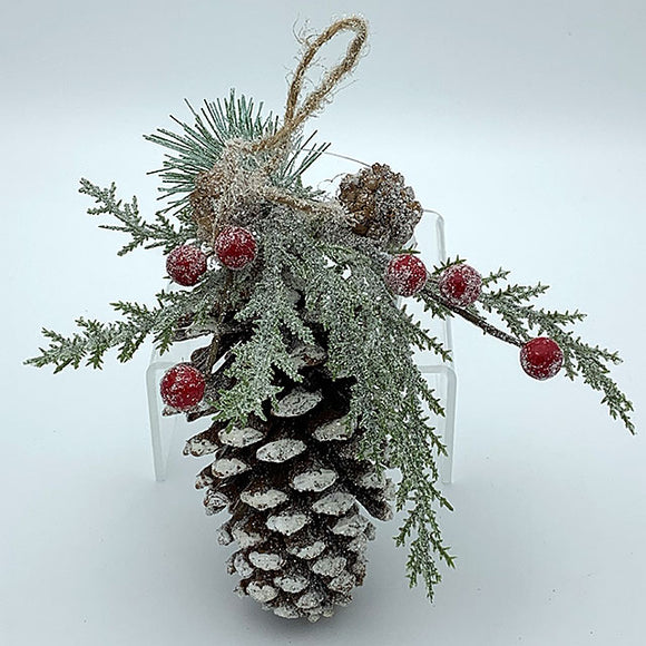 Pinecone w/ Red Berries Ornament
