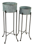 Plant Stands w/ Round Zinc Planters Set of 2