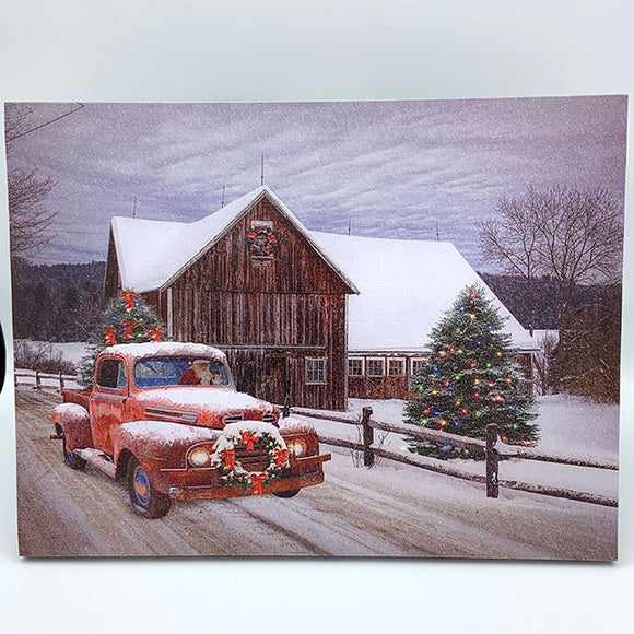 Canvas Truck and Barn Christmas