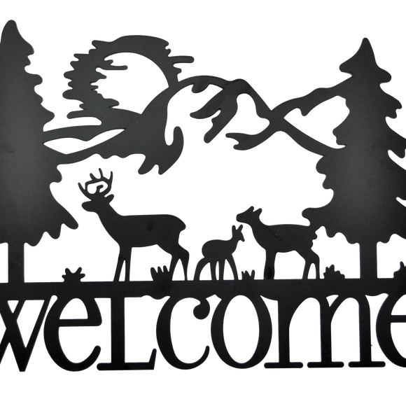 Welcome Deer Metal Wall Art