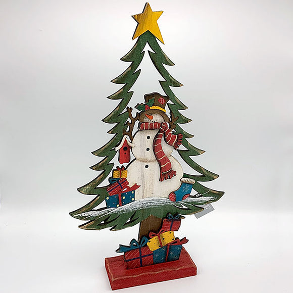 Wooden Tree w/ Snowman Cut
