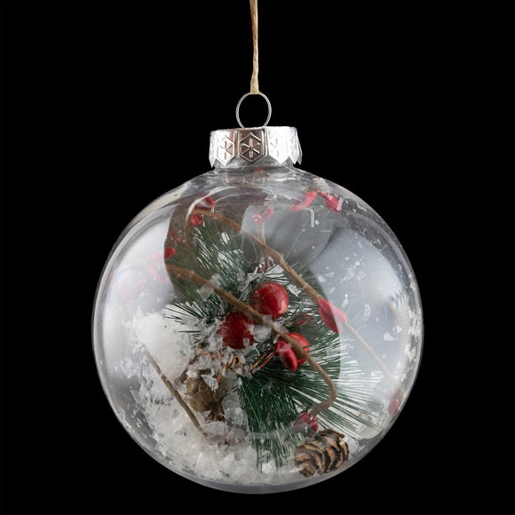 Ball Ornament Clear w/ Greenery and Berries
