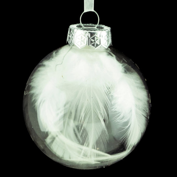 Ball Ornament Clear w/ White Feathers