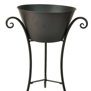 "Scroll Plant Stand w/ 12"" Metal Pot"