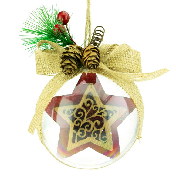 Ball Ornament Clear w/ Star Red