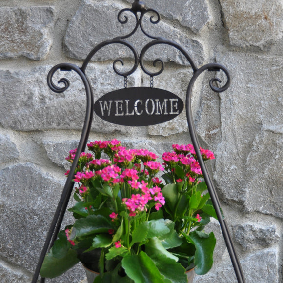 Welcome Patio Plant Stand Black