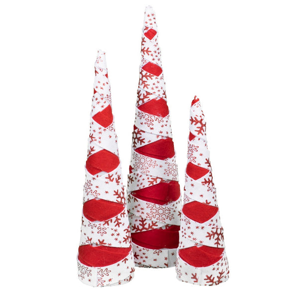 Red and White Cone Set of 3