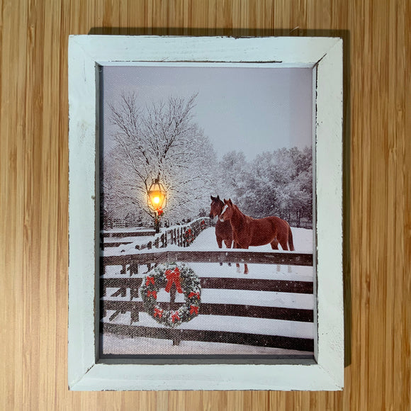 Canvas LED With Frame and Horses