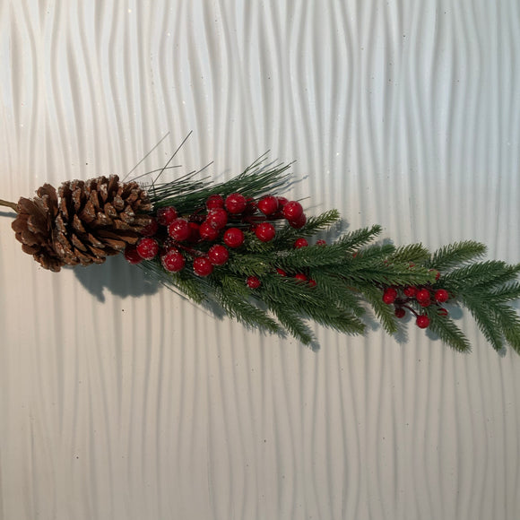 "Spray 29"" Needle Pine w/ Frosted Pinecone & Berries"