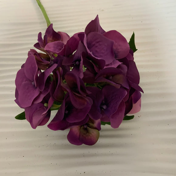 "Hydrangea 19"" Purple and Green Floral Stem"