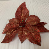 "Poinsettia Head 9"" Red With Clip"
