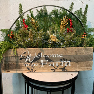 Large Wooden Welcome To The Farm Planter With Metal Handle And Live Greens