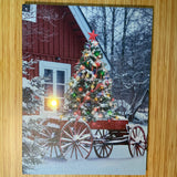 Canvas LED With Christmas Tree and Wagon
