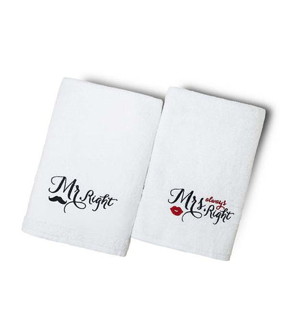 Mr & Mrs Premium White Bath Towel