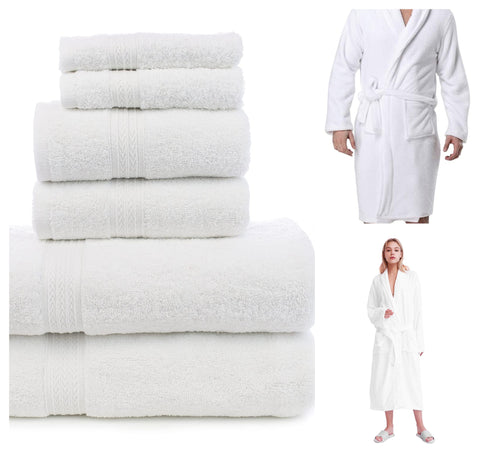 6 Pc's White Towel with Two White Bath Robe