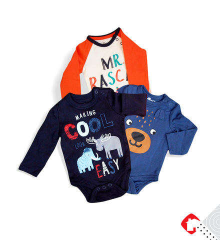 3 Pcs Pack Full Sleeves Baby Romper Bodysuit Unisex Pure Cotton High Quality