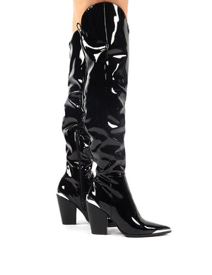 Honor Black Patent Western Block Heeled Knee High Boots