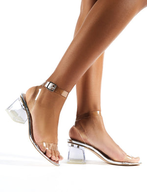 Afternoon Wide Fit Silver Mirror Perspex Block Mid Heels