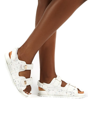 Carmen White Multi Buckle Strap Flat Sandals