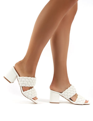 Chelsee White PU Block Heeled Mules