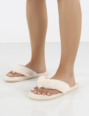 Cuddle White Thong Strap Faux Fur Slippers