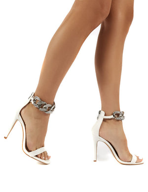 Iced Out White Chain Strap Heel