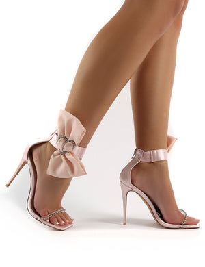 Moda Nude Square Toe Heart Diamante Stiletto Heels