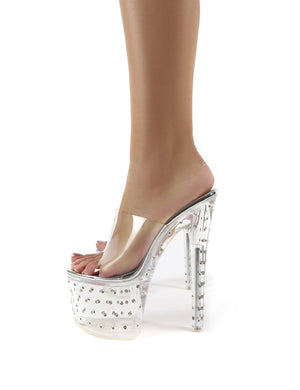Poser Clear Perspex Diamante Platform Stiletto Heels