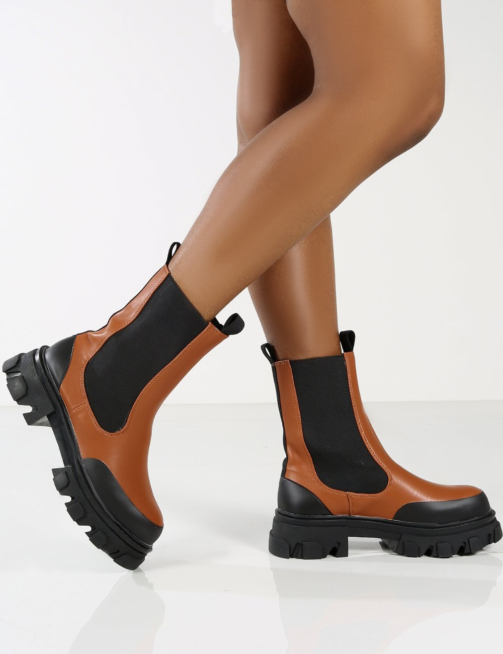 Amber x Public Desire Wonder WF Tan Chunky Sole Ankle Boot