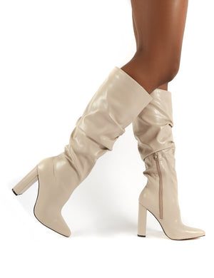 Yours Taupe PU Patent Heeled Knee High Block Boots
