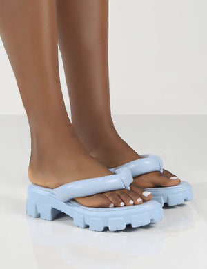 State Blue Chunky Sole Thong Strap Sandals