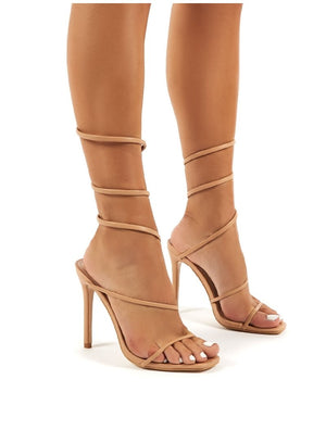 Caris Nude Wrap Around Cuff Stiletto High Heels