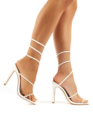 Caris White Wrap Around Cuff Stiletto High Heels
