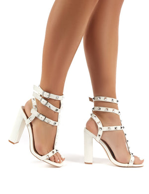 Finally Wide Fit White PU Studded Block Heels