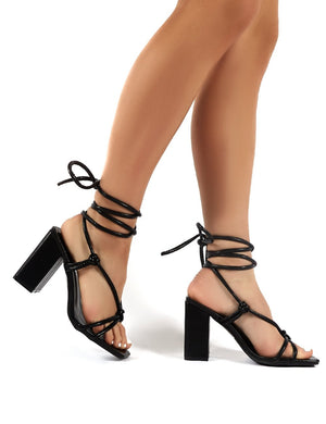 Lois Black PU Strappy Lace Up Block Heel