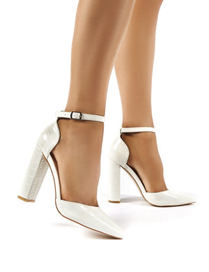 Sofia Wide Fit White Croc Pointed Block Heels
