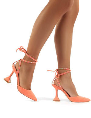 Tate Coral Diamante Lace Up Statement High Heels