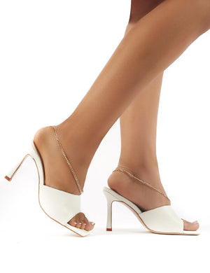 Treasure White PU Chain Detail Heeled Mules