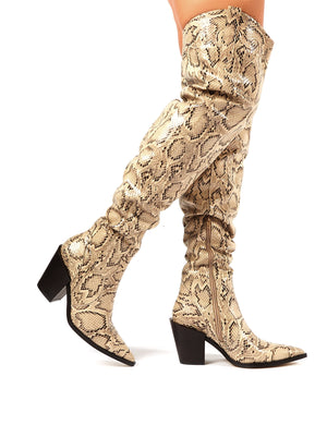Dallas Snakeskin Western Block Heeled Over the Knee Boots
