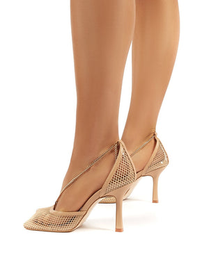 Anabela Nude Fishnet Chain Detail Square Toe Stiletto High Heels