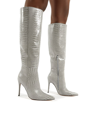 Aimi Grey Croc Knee High Stiletto Heel Boots