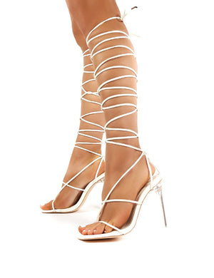 Antics White Extreme Lace Up Strappy Perspex Stiletto Heels