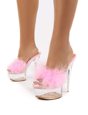 Behaviour Pink Perspex Platform Feather Stiletto Heels